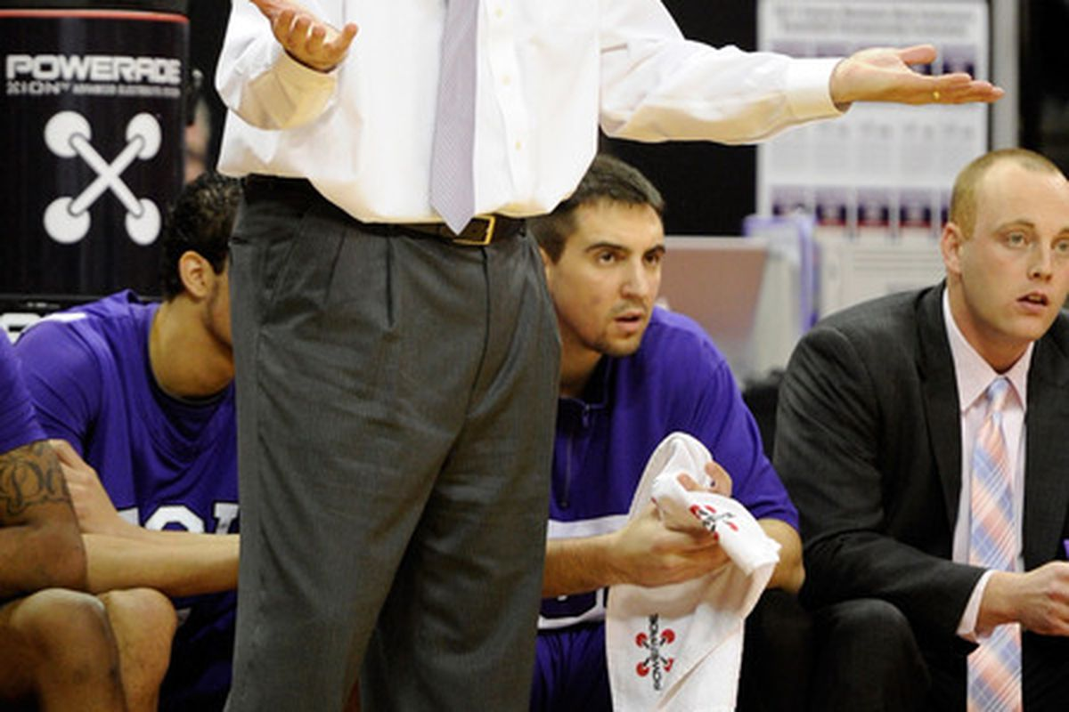 LAS VEGAS, NV - MARCH 09:  Head coach Jim Christian of the Texas Christian University Horned Frogs is about as uncertain as HawkeyedFrog as to what this season will hold for the Frogs.