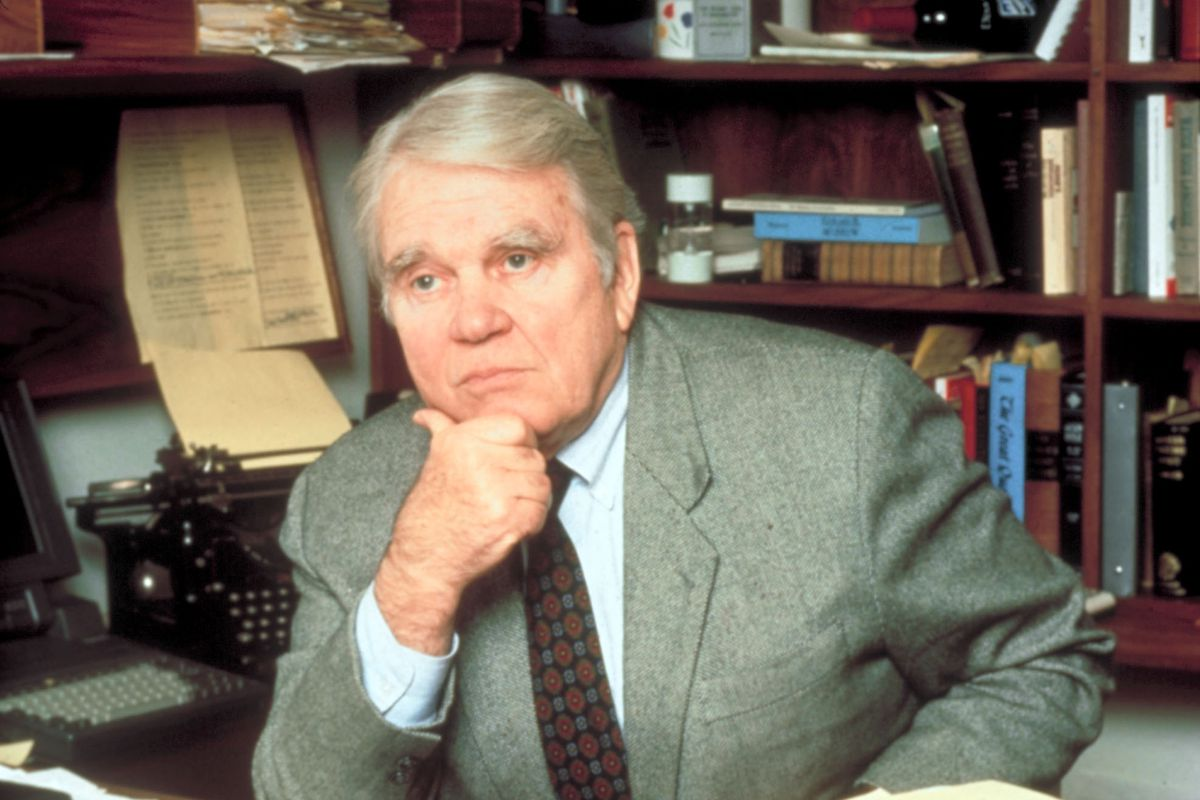 Andy Rooney at his desk.