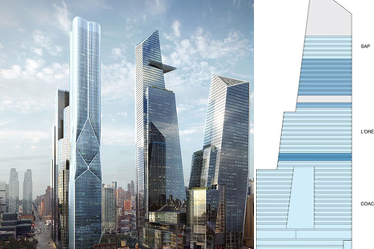"""Left, a rending of the completed <a href=""""http://www.hudsonyardsnewyork.com/"""">Hudson Yards</a> project. Right, the current status of South Tower occupants."""
