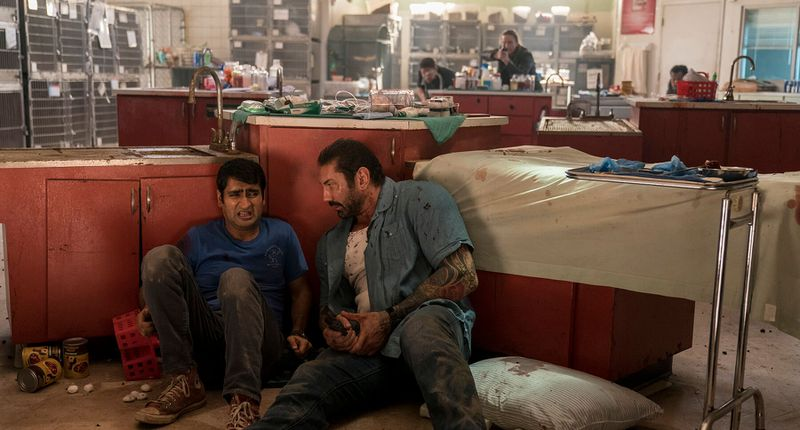 Kumail Nanjiani and Dave Bautista in Stuber.
