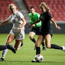 Pleasant Grove and Davis compete in a 6A girls soccer semifinal game at Rio Tinto Stadium in Sandy on Tuesday, Oct. 20, 2020.