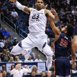 Brigham Young Cougars forward Yoeli Childs (23) looks to pass in Provo on Thursday, Jan. 11, 2018.