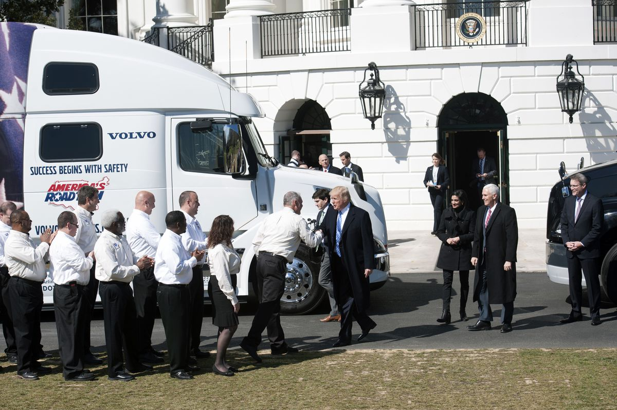 President Trump meets with representatives of the trucking industry at the White House