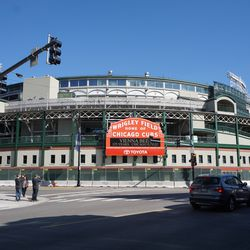 View of Wrigley Field, from the front of the Taco Bell