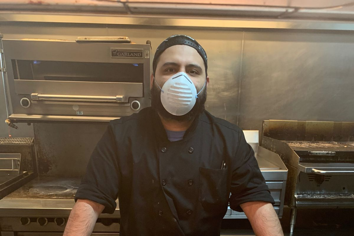 Jose Gonzalez, 27, is a cook at Hotel 166, a boutique hotel off Michigan Avenue that usually caters to tourists. Now, he and other Chicago hotel workers are on the pandemic frontlines.