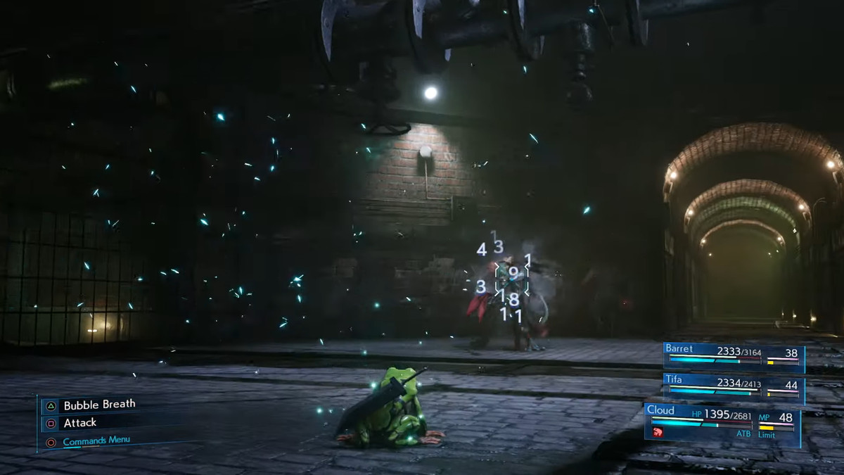 Cloud chills as a toad during combat in the Final Fantasy 7 Remake. He still has his Buster Sword on his froggy back.