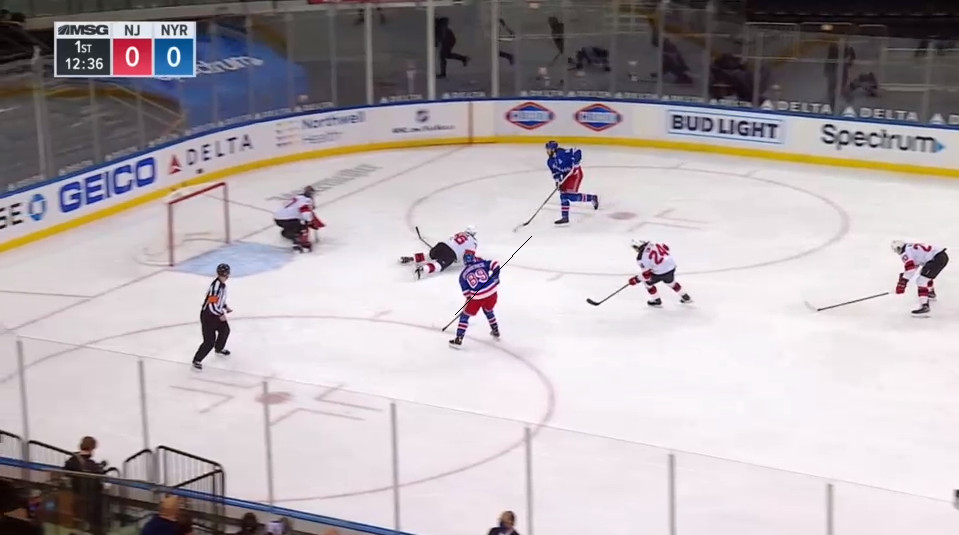 April 17: Michael McLeod trying and failing to get around Panarin led to a turnover that led to this 2-on-1.  Former Norris Trophy winner P.K. Subban doubled down on that error by going down to his stomach instead of defending anything.  Pass, shot, goal for Pavel Buchnevich.