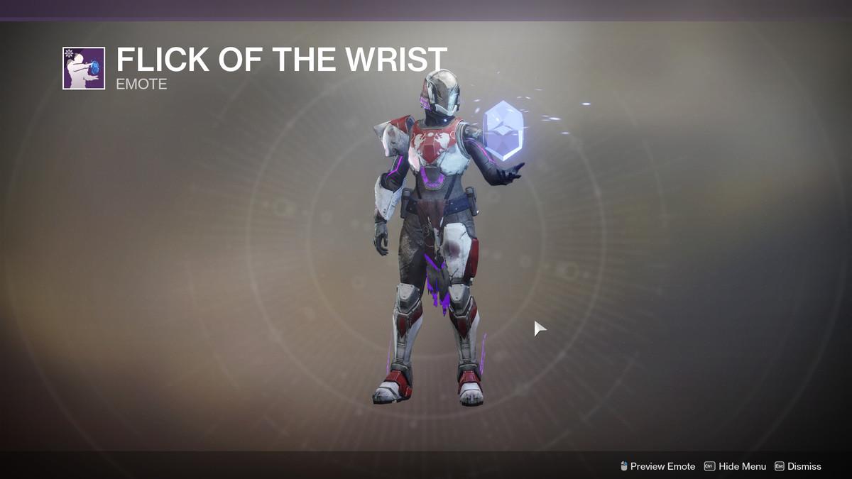 Flick of the Wrist emote Destiny 2