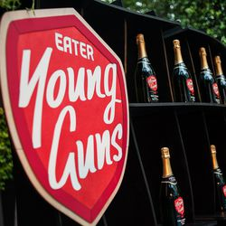 Eater Young Guns champagne bottles for the winners.