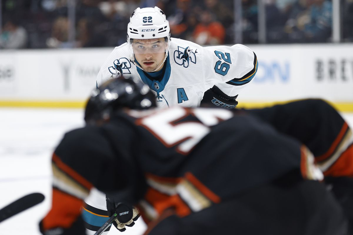 Kevin Labanc #62 of the San Jose Sharks looks on during the third period of a game against the Anaheim Ducks at Honda Center on September 30, 2021 in Anaheim, California.