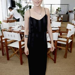 Kristen Stewart in a Cushnie et Ochs dress and Freda Salvador shoes at a luncheon for 'Café Society.'