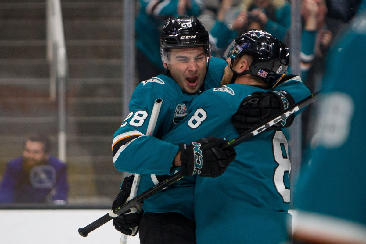 Nov 11, 2018; San Jose, CA, USA; San Jose Sharks right wing Timo Meier (28) and center Joe Pavelski (8) celebrate after Pavelski scored an open net goal against the Calgary Flames in the third period at SAP Center at San Jose. The Sharks won 3-1.