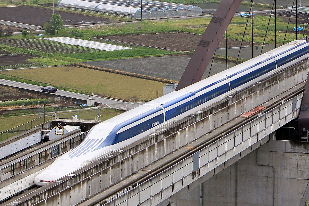 A previous model of JR Central's maglev train, which was capable of traveling at 361 miles per hour.