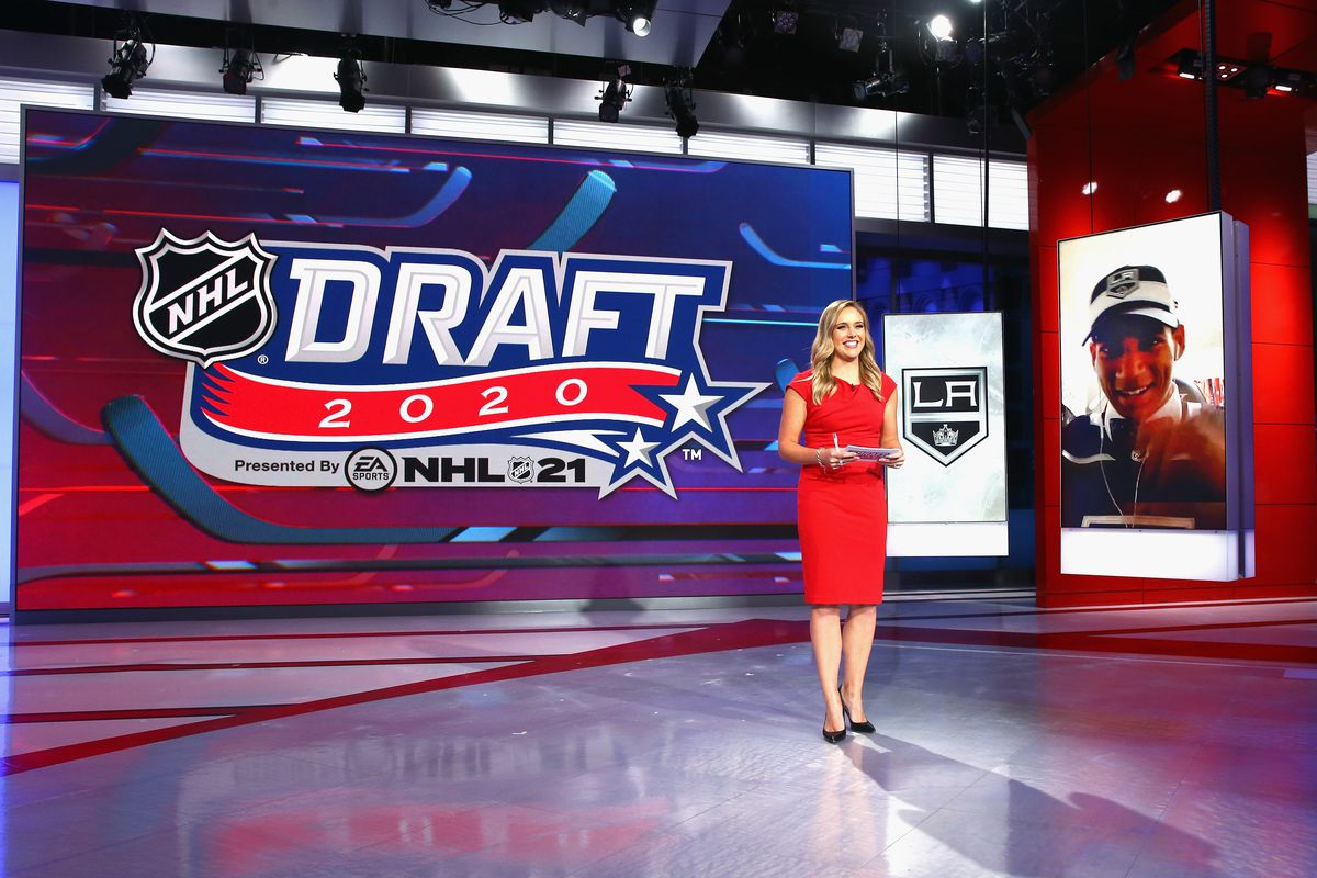 SECAUCUS, NEW JERSEY - OCTOBER 06: Jamie Hersch of the NHL Network interviews Quinton Byfield of Sudbury of the OHL after his selection by the Los Angeles Kings in the 2020 National Hockey League Draft at the NHL Network Studio on October 06, 2020 in Secaucus, New Jersey.