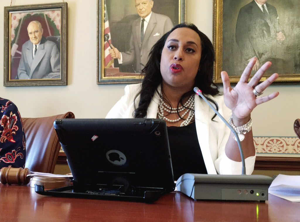 State Sen. Toi Hutchinson, D-Olympia Fields, discusses changes in the tax-increase package on Tuesday, May 23, 2017, in Springfield. (AP Photo/John O'Connor)