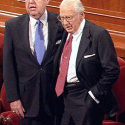 Elder Jeffery R. Holland, left, and President James E. Faust April 2007.