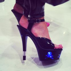 We had to zero-in on her light-up stilettos