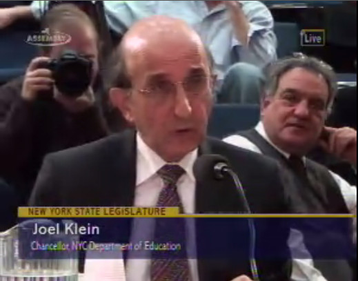 Joel Klein is asking for flexibility and more money from the state at a joint session of the legislature today. Watch the testimony live online by clicking ##http://assembly.state.ny.us/av/##here##.