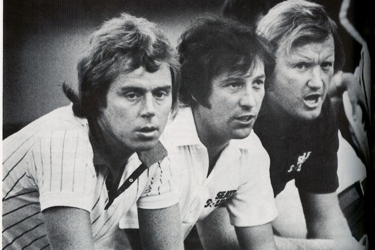 Coaches (l to r) Harry Redknapp, Bobby Howe and manager Jimmy Gabriel all started in strike game.