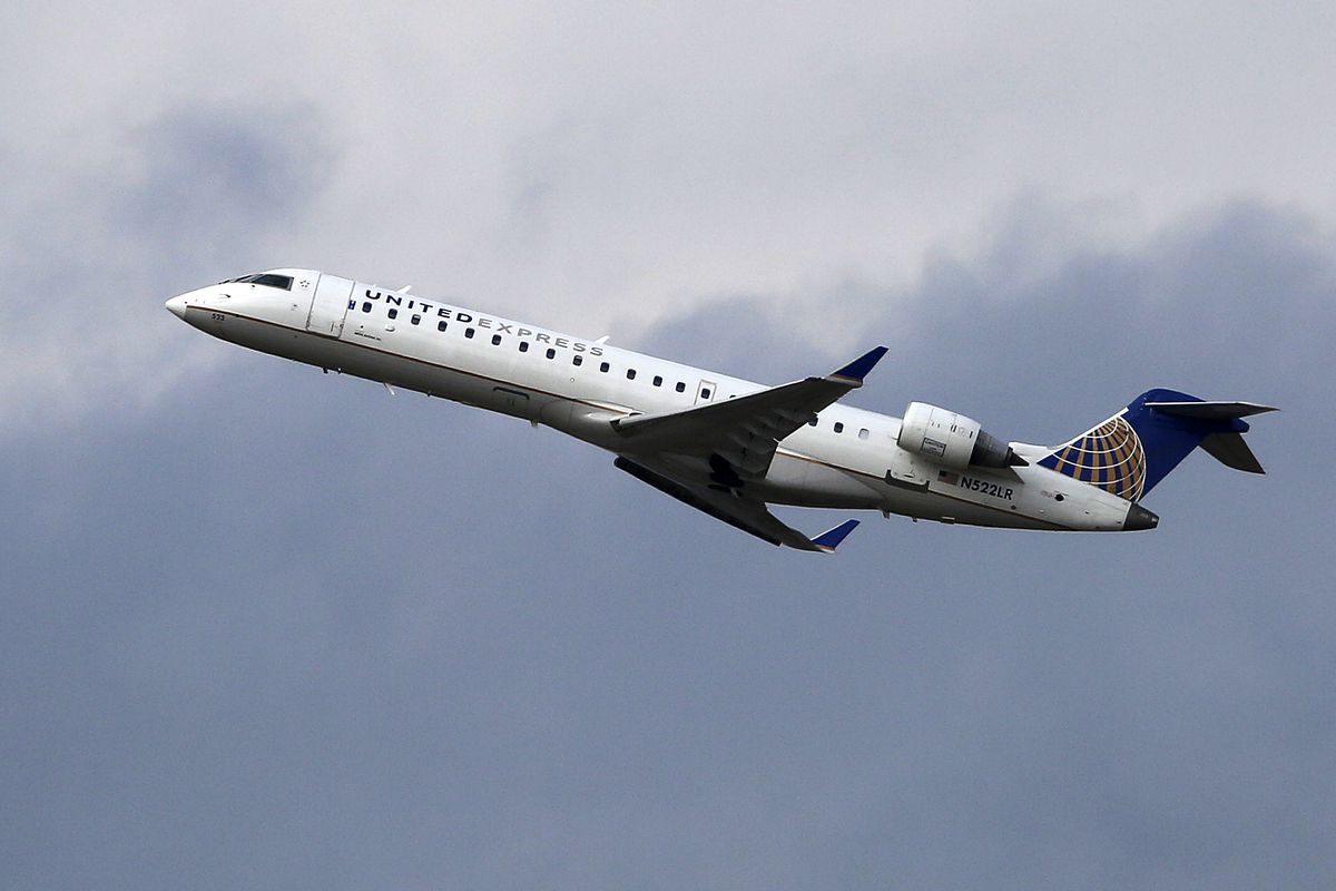 A United Airlines Express jet takes off from Pittsburgh International Airport, Wednesday, Feb. 22, 2017. (AP Photo/Gene J. Puskar)