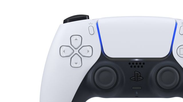 a product photo from the front of the PlayStation 5 controller, the DualSense, showing a close-up of the D-pad and analog sticks