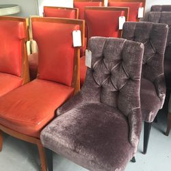 Velvet purple side chairs, $399 (set of 4); Sermos style chairs, $299 each