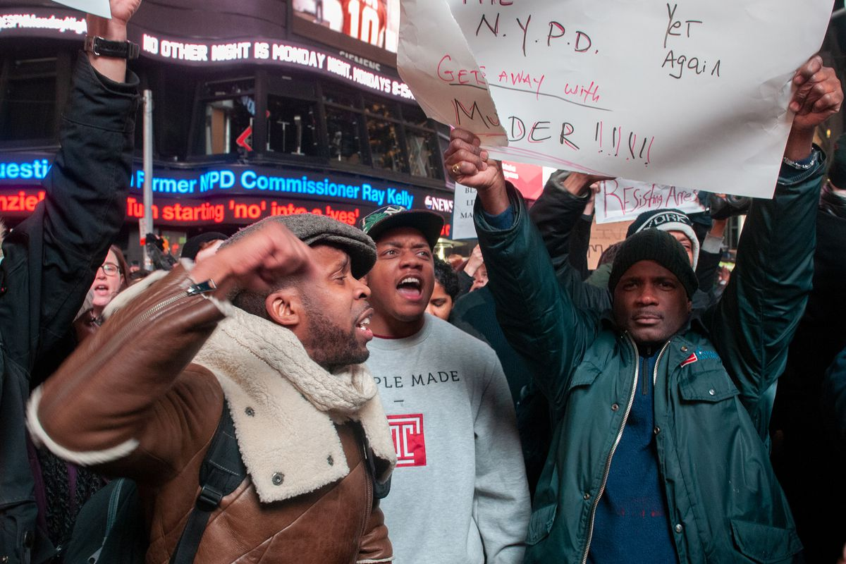 Hundreds of protesters marched to Times Square after a grand jury failed to indict NYPD officer Daniel Pantaleo in the death of Eric Garner, Dec. 3, 2014.