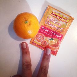 I've been fighting the cold that's going around, taking as many vitamins as I can find to help keep my immune system up. A healthy way to pack in vitamin C is to keep a few clementines at your desk. And <b>EmergenC</b>—gotta have that.