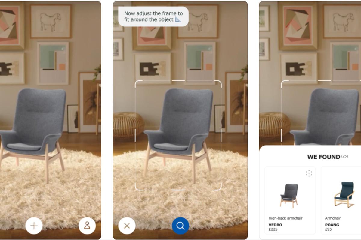 Screenshot of Ikea app showing chairs