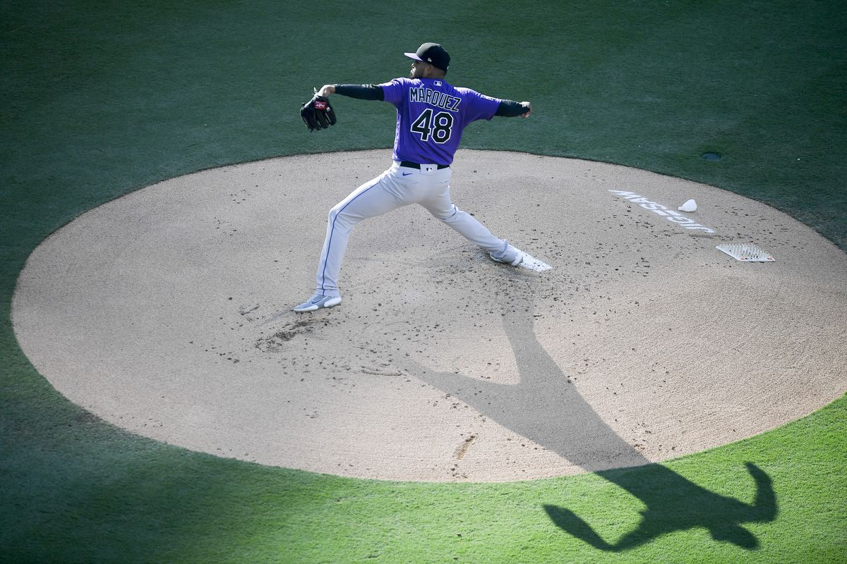 German Marquez #48 of the Colorado Rockies pitches during the first inning of a baseball game against the San Diego Padres at Petco Park on July 31, 2021 in San Diego, California.