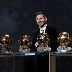 Messi's all smiles with his sixth Ballon d'Or