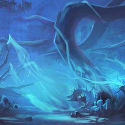 Early on in the ideation phase of Revendreth we wanted to capture a vampiric theme in the environment itself. We wondered what the zone could be if the land had actual veins running through the ground, leeching from those that inhabited it above. While we deviated from that initial idea, this moat subzone was an opportunity to showcase that the energies beneath the surface of the ground are not what you would find in a traditional Azeroth zone. Here we have the roots beneath the terrain completely exposed, vulnerable and compromised as their energy slowly leaks out and fills the air with a faint blue mist, combining with the pollutants that pour down from the castle above. Gustav Schmidt<em> – Senior Environment Artist</em>