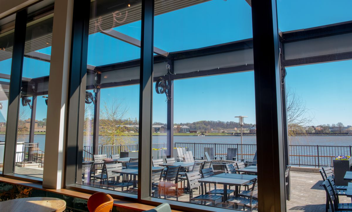 The patio at the Point overlooks the waterfront tip where the Potomac and Anacostia rivers meet
