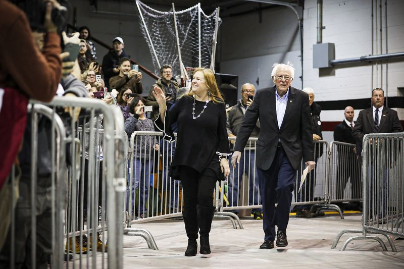 Sen. Bernie Sanders and wife Jane Sanders appear in New Hampshire at a campaign event.