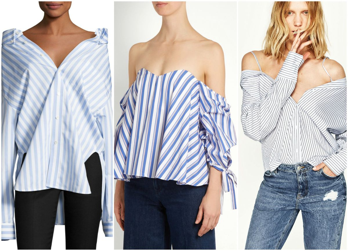 93bc6767 Balenciaga Striped Swing-Back Blouse, $855; Caroline Constas Gabriella  Off-The-Should Striped Top, $395; Zara Multiposition Striped Shirt, $49.90