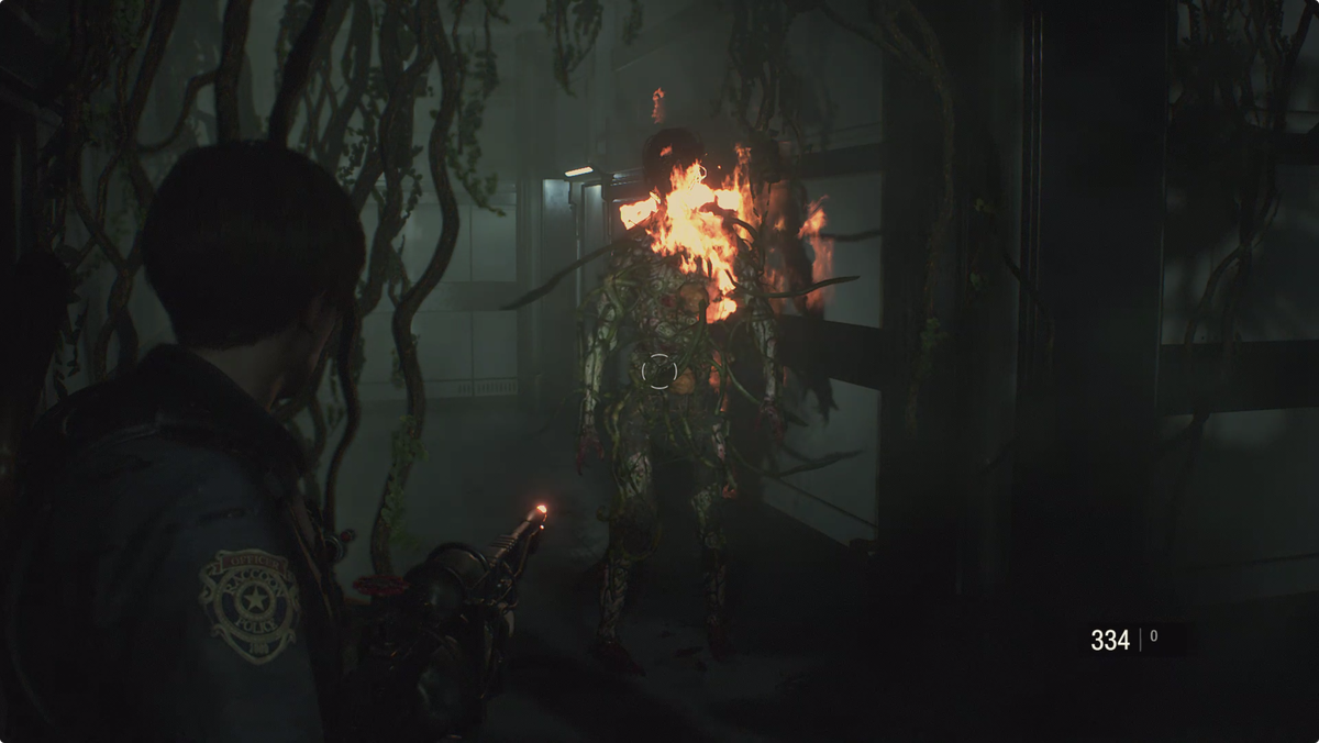Resident Evil 2using the Flamethrower on an Ivy