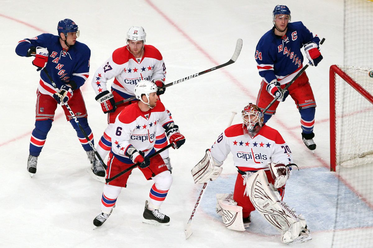 Apr 7 2012; New York, NY, USA;  Washington Capitals goalie Braden Holtby (70) watches a deflected puck during the second period against the New York Rangers at Madison Square Garden.  Mandatory Credit: Anthony Gruppuso-US PRESSWIRE