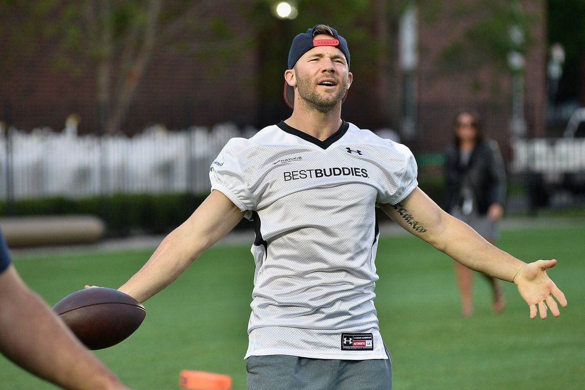 NFL player Julian Edelman attends the Tom Brady Football Challenge for The Best Buddies Challenge: Hyannis Port 2015 at Harvard Field on May 29, 2015 in Allston, Massachusetts.