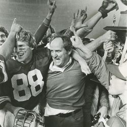 BYU head football coach LaVell Edwards wins the Holiday Bowl on Dec. 18, 1981.