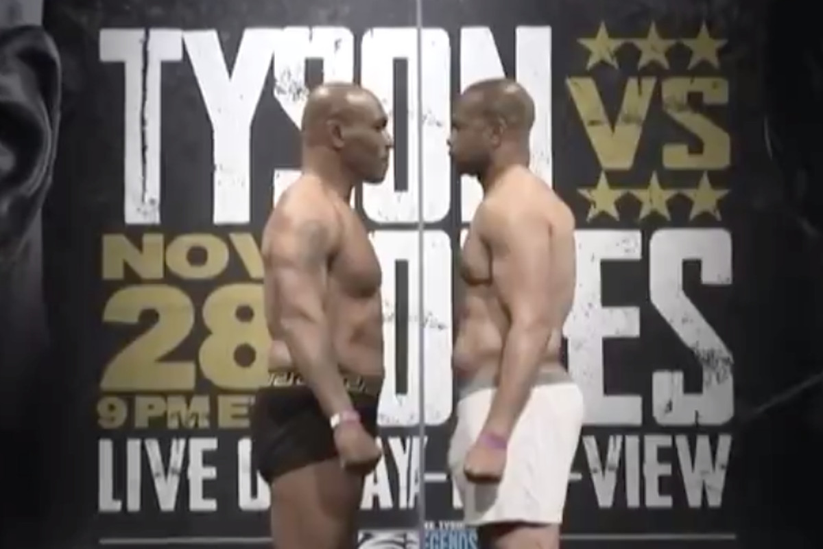 Mike Tyson and Roy Jones Jr stare each other down at their weigh-in