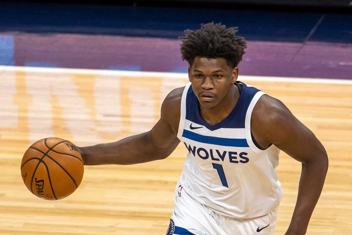 Minnesota Timberwolves forward Anthony Edwards dribbles the at Target Center.