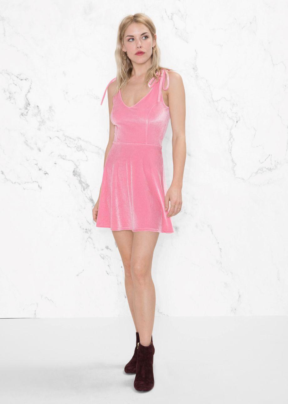 & Other Stories Velour Tie Strap Dress, $65