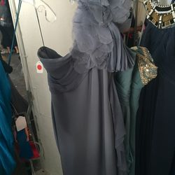 Blue-gray one-shoulder gown, $600