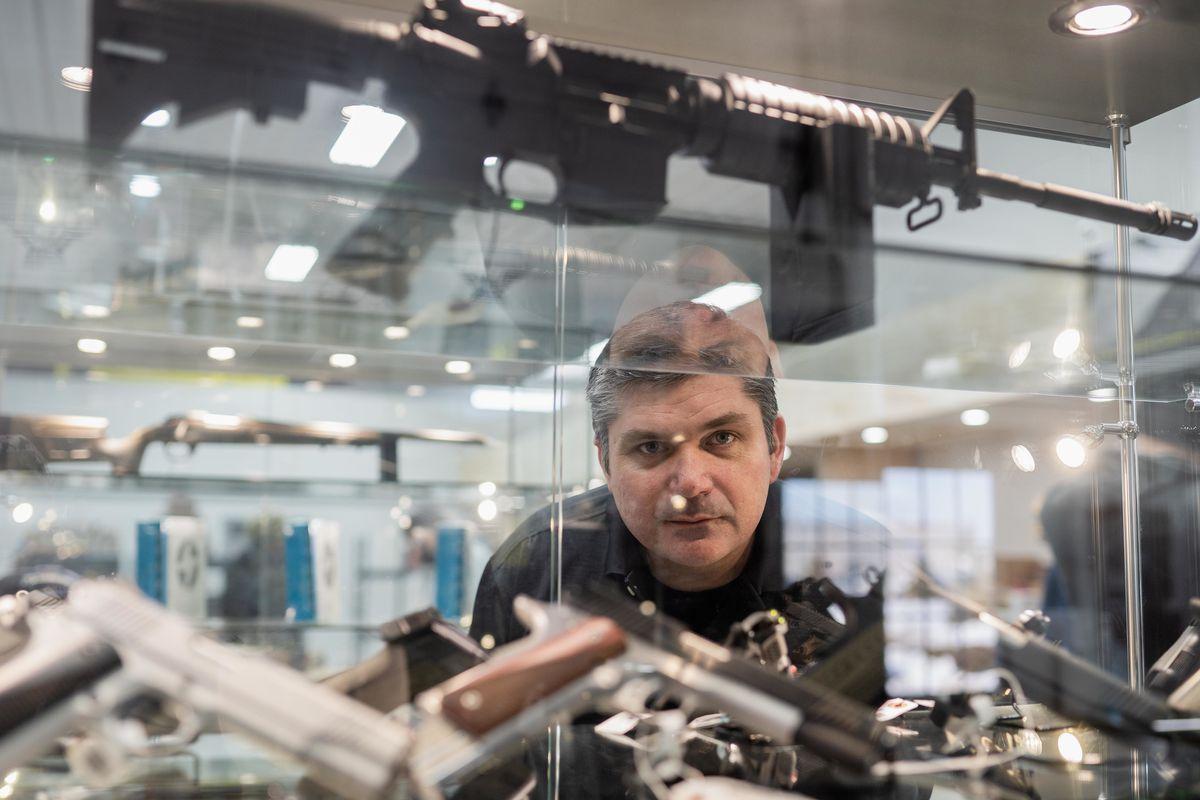 Jeff Regnier, owner of Kee Firearms and Training, in his shop in New Lenox last week.