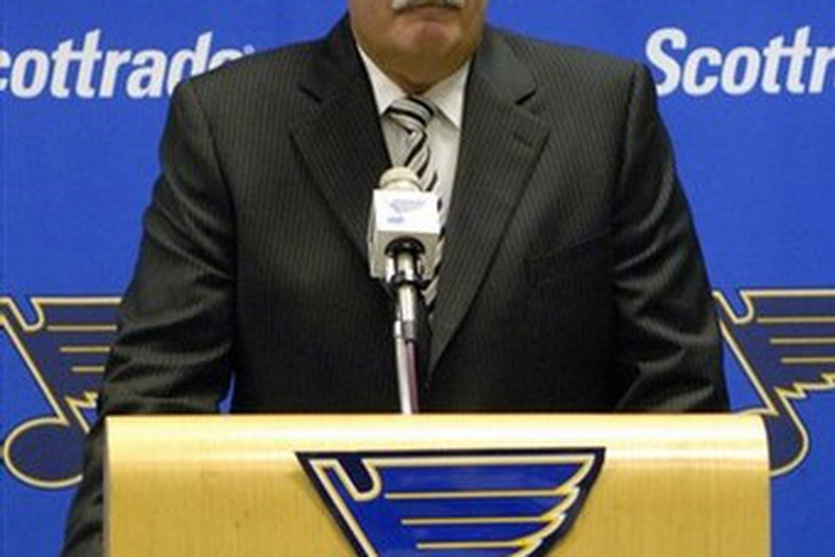 Blues GM John Davidson answers questions at press conference announcing signing of Max Brodeur.