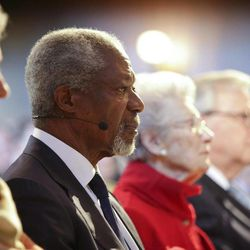 Former U.N. General Secretary Kofi Annan is flanked by his wife  Nane Annan, left, and her mother Nina Lagergren, right, during the centenniel jubilation of the birth of Raoul Wallenberg at the Raoul Wallenberg Institute at the University of Lund, Sweden, Tuesday April 24 2012. Nina Lagergren is half-sister of Raoul Wallenberg who is remembered for saving Jewish people from concentration camps during the later stages of World War II.