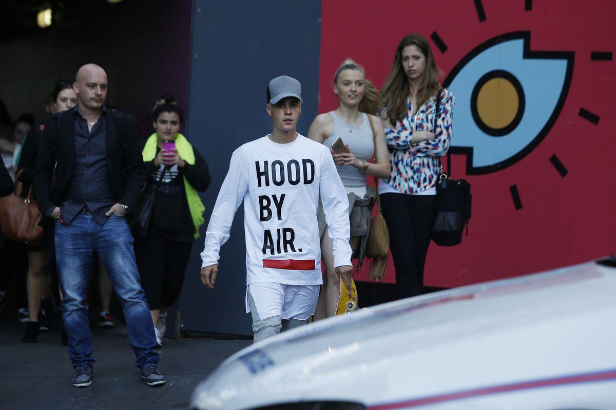 Justin Bieber wearing Hood By Air in Sydney.