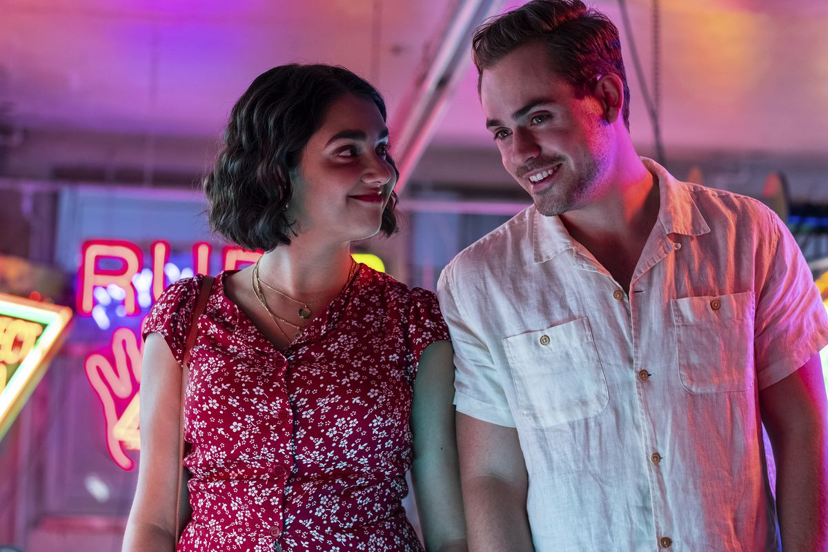 """Lucy (Geraldine Viswanathan) finds herself attracted to aspiring hotelier Nick (Dacre Montgomery) in a scene from """"The Broken Hearts Gallery."""""""