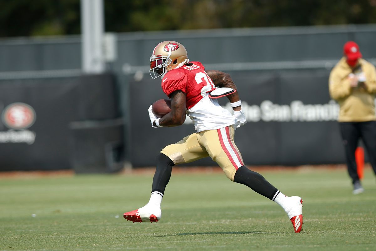 Tevin Coleman of the San Francisco 49ers rushes during training camp at the SAP Performance Facility on August 18, 2020 in Santa Clara, California.