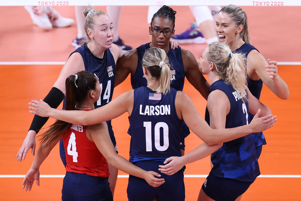 Team United States huddle while competing against Team Serbia during the Women's Semifinals on day fourteen of the Tokyo 2020 Olympic Games at Ariake Arena on August 06, 2021 in Tokyo, Japan.